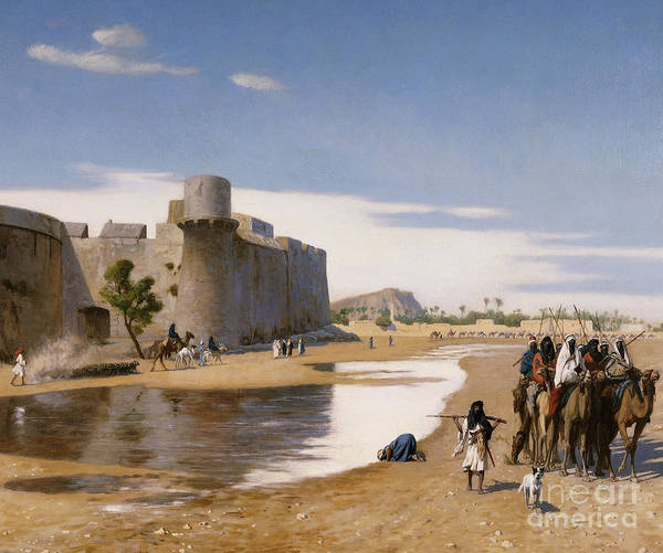 Academic Art Print featuring the painting An Arab Caravan Outside A Fortified Town by Jean Leon Gerome
