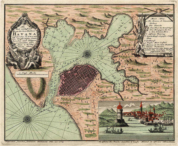 graphic relating to Printable Map of Havana identify Antique Map Of Havana Cuba By means of Jacques Nicolas Bellin - 1739 Artwork Print