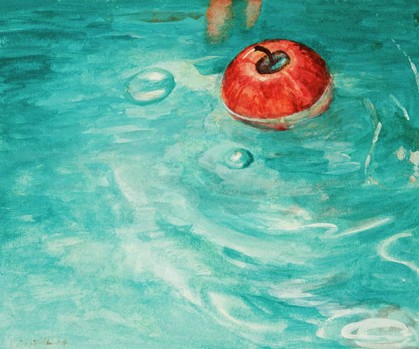 Apple Art Print featuring the painting Apple In A Tub by Kathryn Donatelli