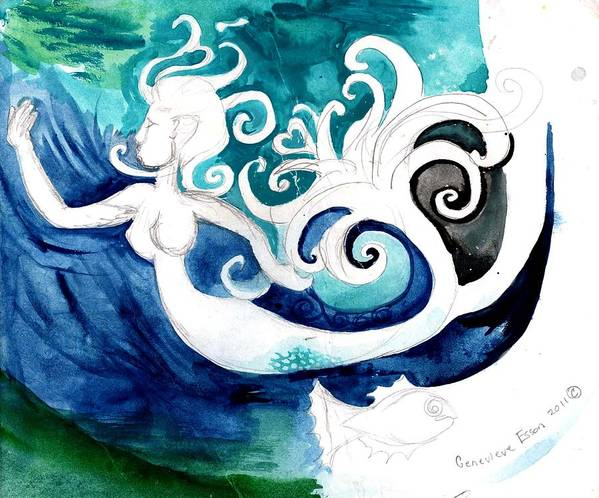 Mermaid Art Print featuring the painting Aqua Mermaid by Genevieve Esson