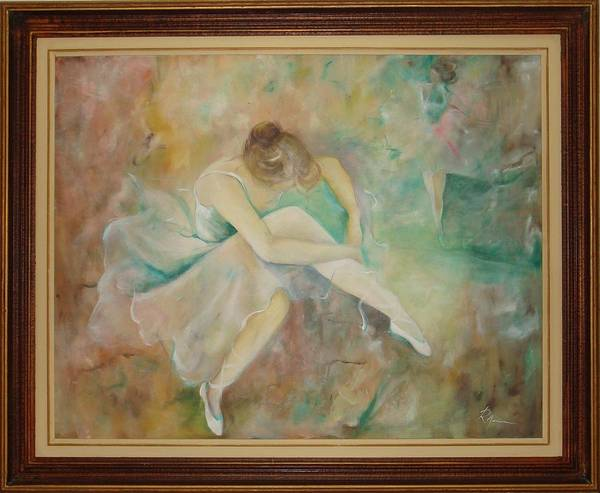 Ballet Dancers Art Print featuring the painting Ballet Dancers by Ri Mo