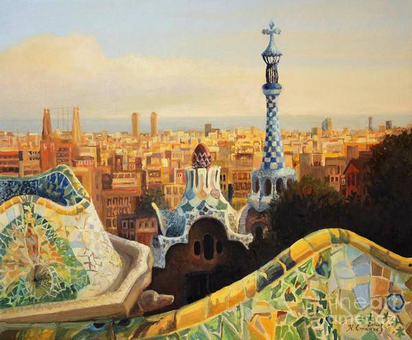 Antoni Gaudi Art Print featuring the painting Barcelona Park Guell by Kiril Stanchev