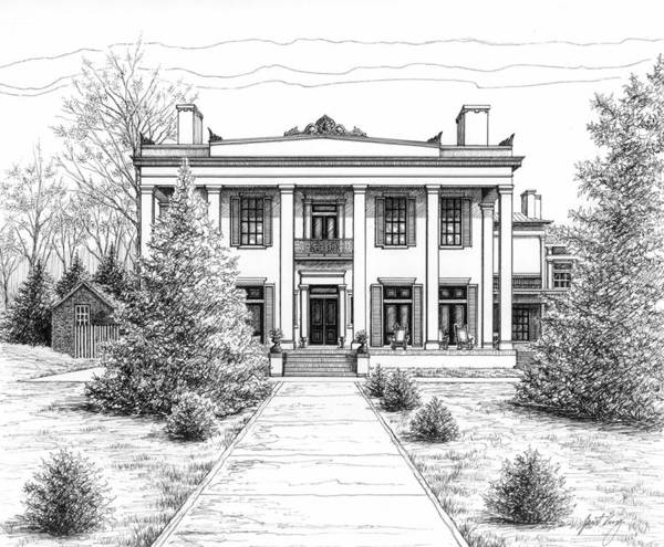 Pen Print featuring the drawing Belle Meade Plantation by Janet King