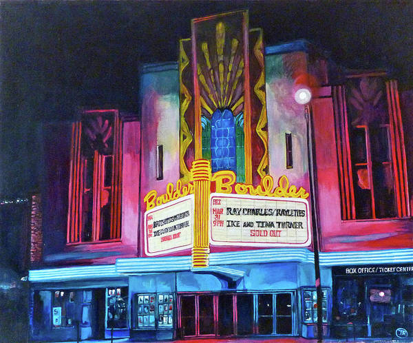 Boulder Theater Art Print featuring the painting Boulder Theater by Tom Roderick