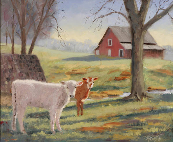 Landscape Art Print featuring the painting Calves At The Spring House by Tommy Thompson