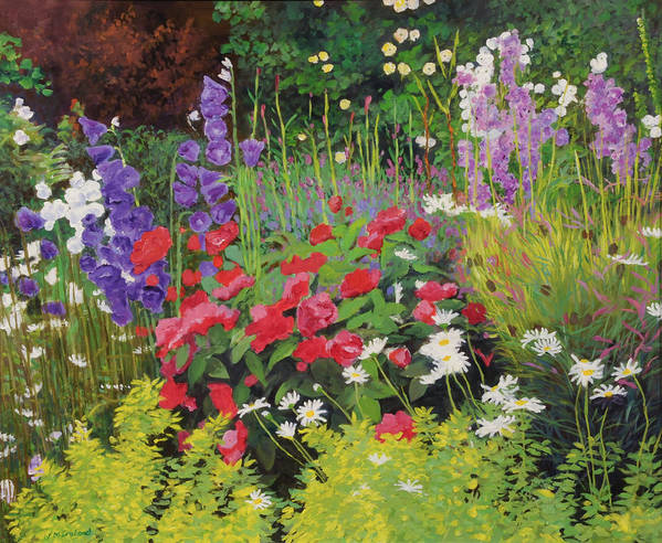 Flowers Art Print featuring the painting Cottage Garden by William Ireland