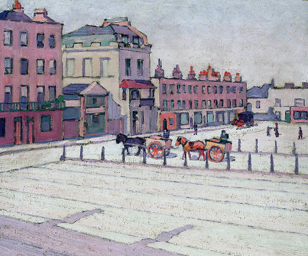 Square Art Print featuring the painting Cumberland Market North Side by Robert Polhill Bevan