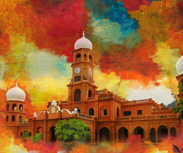Pakistan Art Print featuring the painting Darbar Mahal by Catf