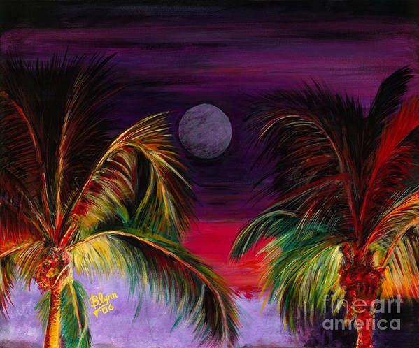 Scenery Art Print featuring the painting Fire Palms II by Dr B Lynn Tillman