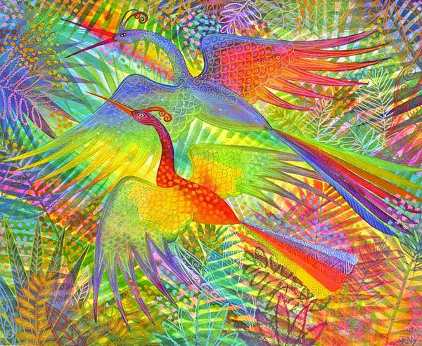 Exotic Birds Rain Forest Rainbow Colours Jungle Tropical Art Print featuring the painting Flight Of Colour And Bliss by Jennifer Baird