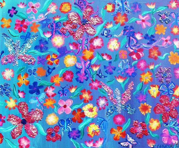 Floral Art Print featuring the painting Flowers And Butterflies by J Andrel
