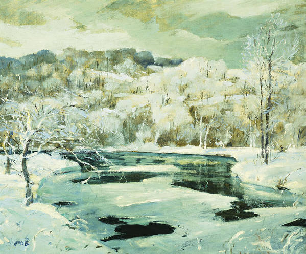 American Art Print featuring the painting Frosted Trees by Jonas Lie