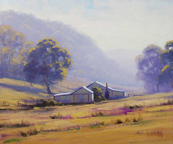 Rural Art Print featuring the painting Hazy Morning by Graham Gercken