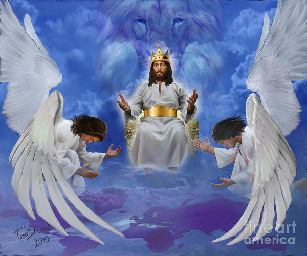 Prophetic Art Art Print featuring the digital art Jesus Enthroned by Tamer and Cindy Elsharouni