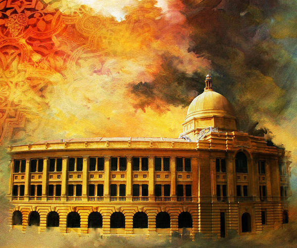 Pakistan Art Print featuring the painting Karachi Port by Catf