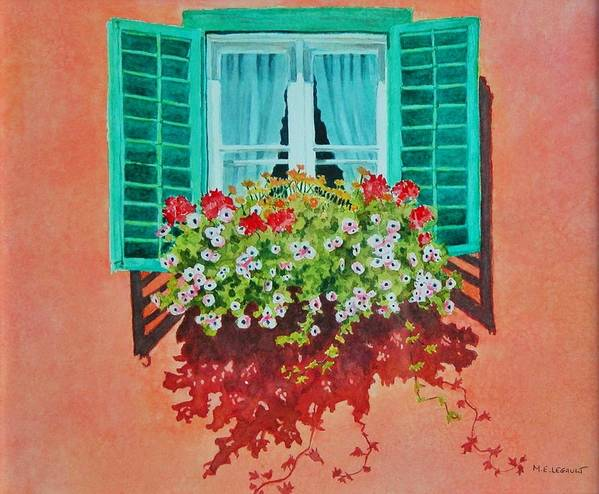 Window Box Art Print featuring the painting Kitzbuhel Window by Mary Ellen Mueller Legault