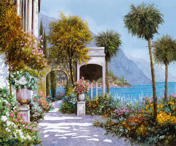 Lake Art Print featuring the painting Lake Como-la Passeggiata Al Lago by Guido Borelli