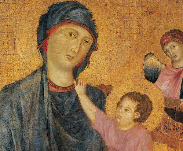 Madonna And Child Art Print featuring the painting Madonna And Child Enthroned by Cimabue