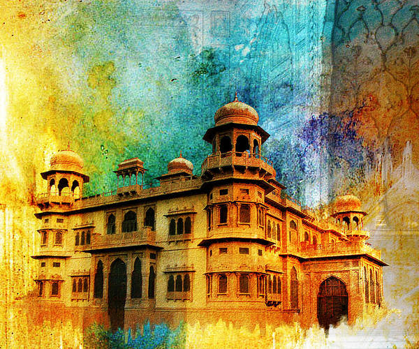 Pakistan Art Print featuring the painting Mohatta Palace by Catf