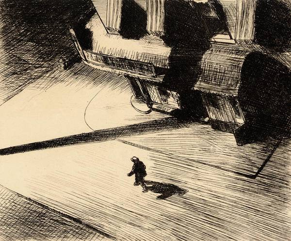 Night Shadows Print featuring the painting Night Shadows by Edward Hopper