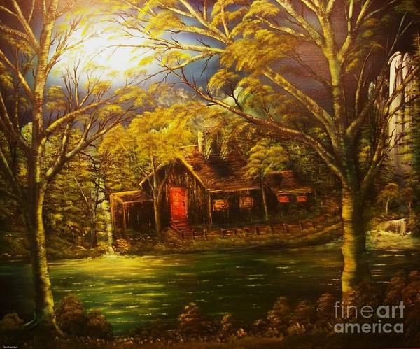 Cottage Art Print featuring the painting Norwegian Evening Glow- Original Sold - Buy Giclee Print Nr 31 Of Limited Edition Of 40 Prints by Eddie Michael Beck