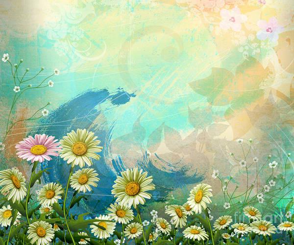 Daisy Art Print featuring the digital art One Pink Daisy by Bedros Awak