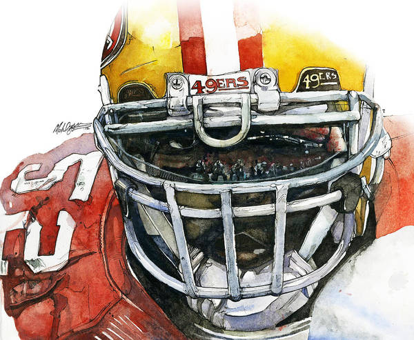 Patrick Art Print featuring the painting Patrick Willis - Force by Michael Pattison
