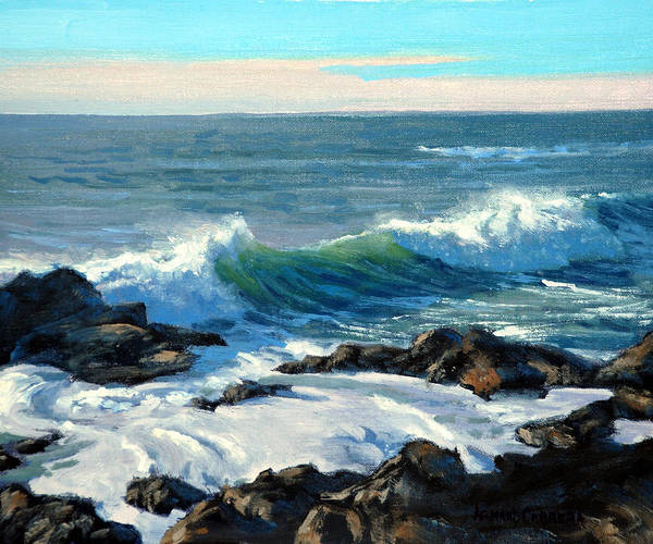 Ocean Art Print featuring the painting Rising Surf by Armand Cabrera