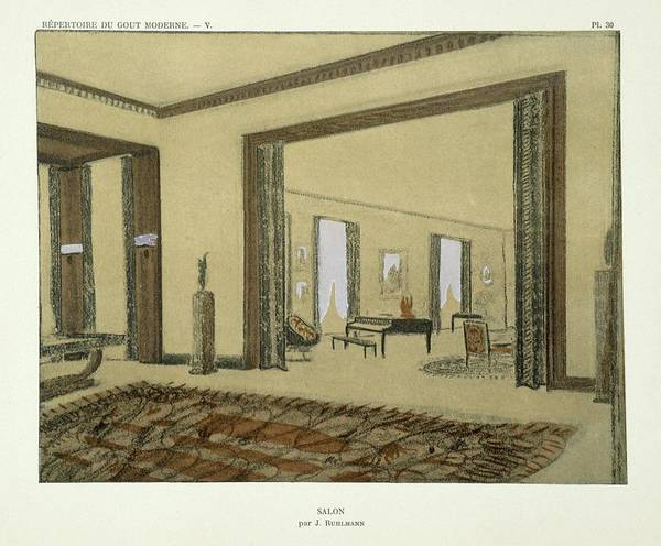 Interior Art Print featuring the drawing Salon, From Repertoire Of Modern Taste by Jacques-Emile Ruhlmann