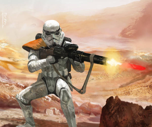 Star Wars Art Print featuring the digital art Sand Trooper - Star Wars The Card Game by Ryan Barger