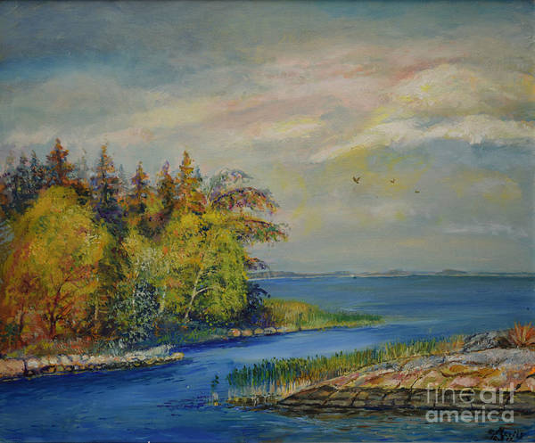 Raija Merila Art Print featuring the painting Seascape From Hamina 3 by Raija Merila
