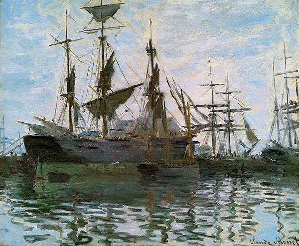 Claude Monet French Impressionist Impressionism Paint Painter Oil Canvas Landscapes Landscape Harbor Water Fresh Salt Salty Boat Boats Ship Ships Harbors Sea Seas Ocean Oceans Oceanic In Sail Sails Make Sail Come About Stern Bow Starboard Port Make Way Weigh Anchor Drop Anchor Painting Shipping Freight Sailor Sailors Brackish Row Boat Rowboat Sailing Trade Winds Lane Lanes Navigate Navigation Nautical Mile Miles Wave Waves Captain First Mate Sextant Ports Longitude Latitude Minutes Seconds Art Print featuring the painting Ships In Harbor by Claude Monet - L Brown