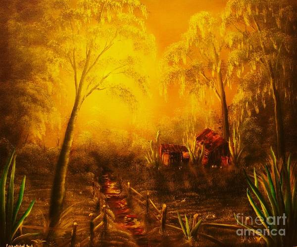 Landscape Art Print featuring the painting Southern Woods -original Sold- Buy Giclee Print Nr 36 Of Limited Edition Of 40 Prints  by Eddie Michael Beck