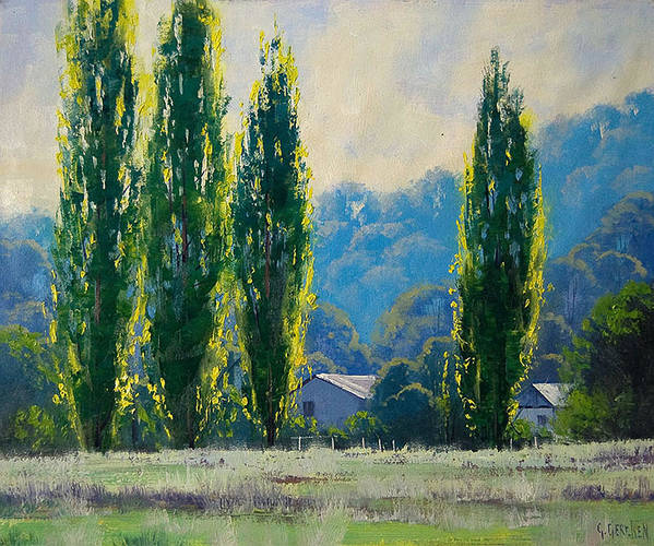 Rural Art Print featuring the painting Summer Greens by Graham Gercken