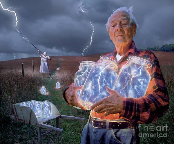 Lightning Art Print featuring the photograph The Lightning Catchers by Bryan Allen