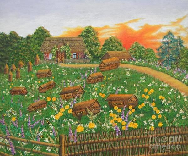 Bee Art Print featuring the painting The Old Beekeeping Museum by Loreta Mickiene