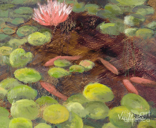Lily Pad Art Print featuring the painting Tranquil Moments-rectangle With Gold Leaf By Vic Mastis by Vic Mastis
