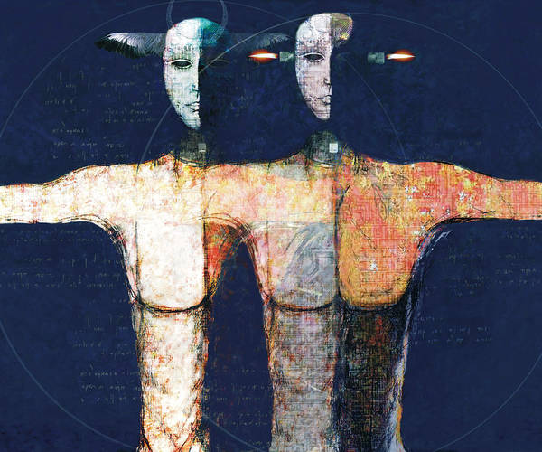 Figurative Art Print featuring the digital art Us And Them by Alessandro Gambetti