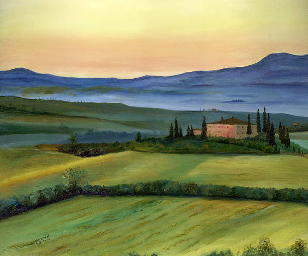 Italy Tuscany Italian Landscape Original Oil Painting Art Cecilia Brendel Print Canvas Metal Lovely Beautiful Framed Art Print featuring the painting Val D by Cecilia Brendel