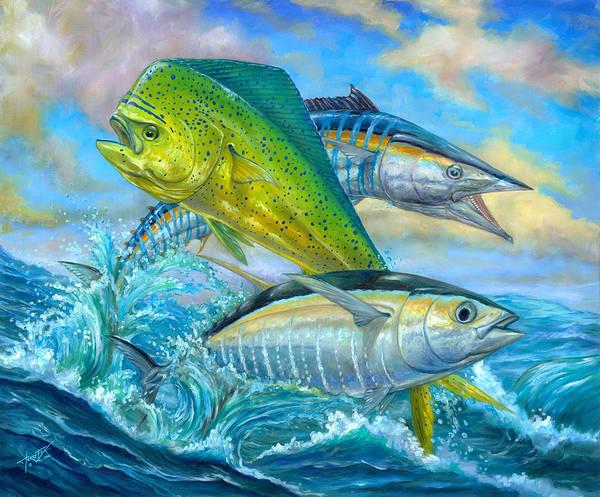 Mahi Mahi Art Print featuring the painting Wahoo Mahi Mahi And Tuna by Terry Fox