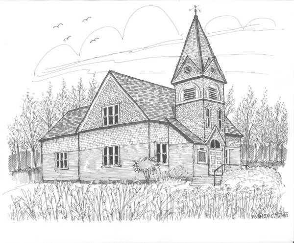 Church Art Print featuring the drawing Westmore Community Church by Richard Wambach