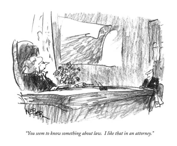Lawyers Art Print featuring the drawing You Seem To Know Something About Law. I Like by Robert Weber