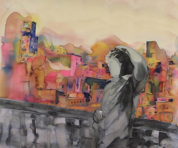 City. Landscape Art Print featuring the tapestry - textile Z And The City by Carolyn Doe