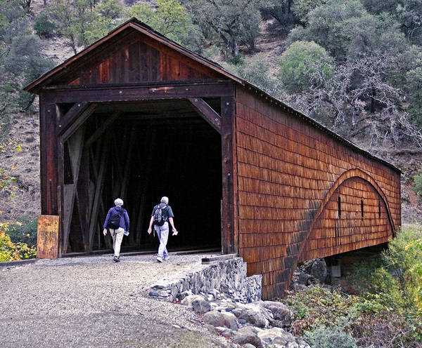 Bridge Art Print featuring the photograph Covered Bridge Walkers by BuffaloWorks Photography
