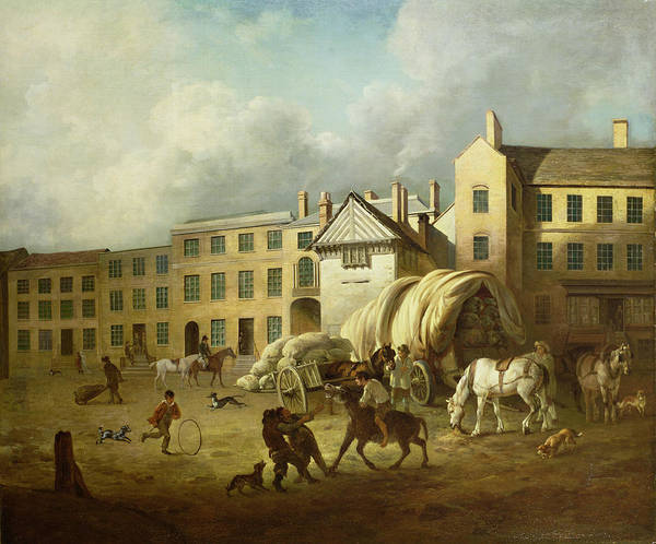 Town Print featuring the painting A Town Scene by George Garrard