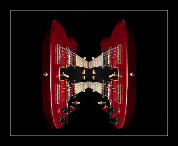 Twin Art Print featuring the photograph Duo-neck Red Guitar by Trudy Wilkerson