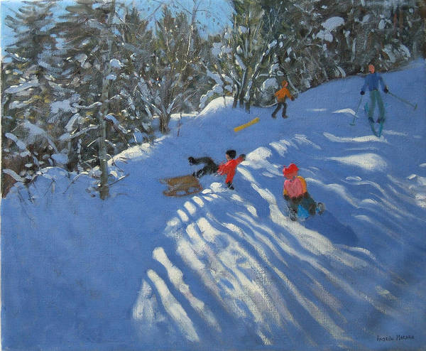 Sled Art Print featuring the painting Falling Off The Sledge by Andrew Macara
