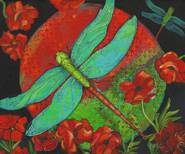 Dragonfly Art Art Print featuring the painting Journey At Dawn by Debbie McCulley