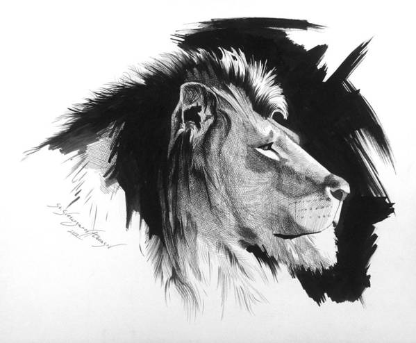 Portrait Art Print featuring the drawing Lion 1 by Stanislav Atanasov