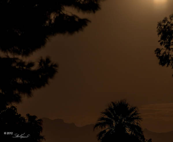 Moon Art Print featuring the photograph Moon Light Onto The Superstition Mountains by Steve Knievel